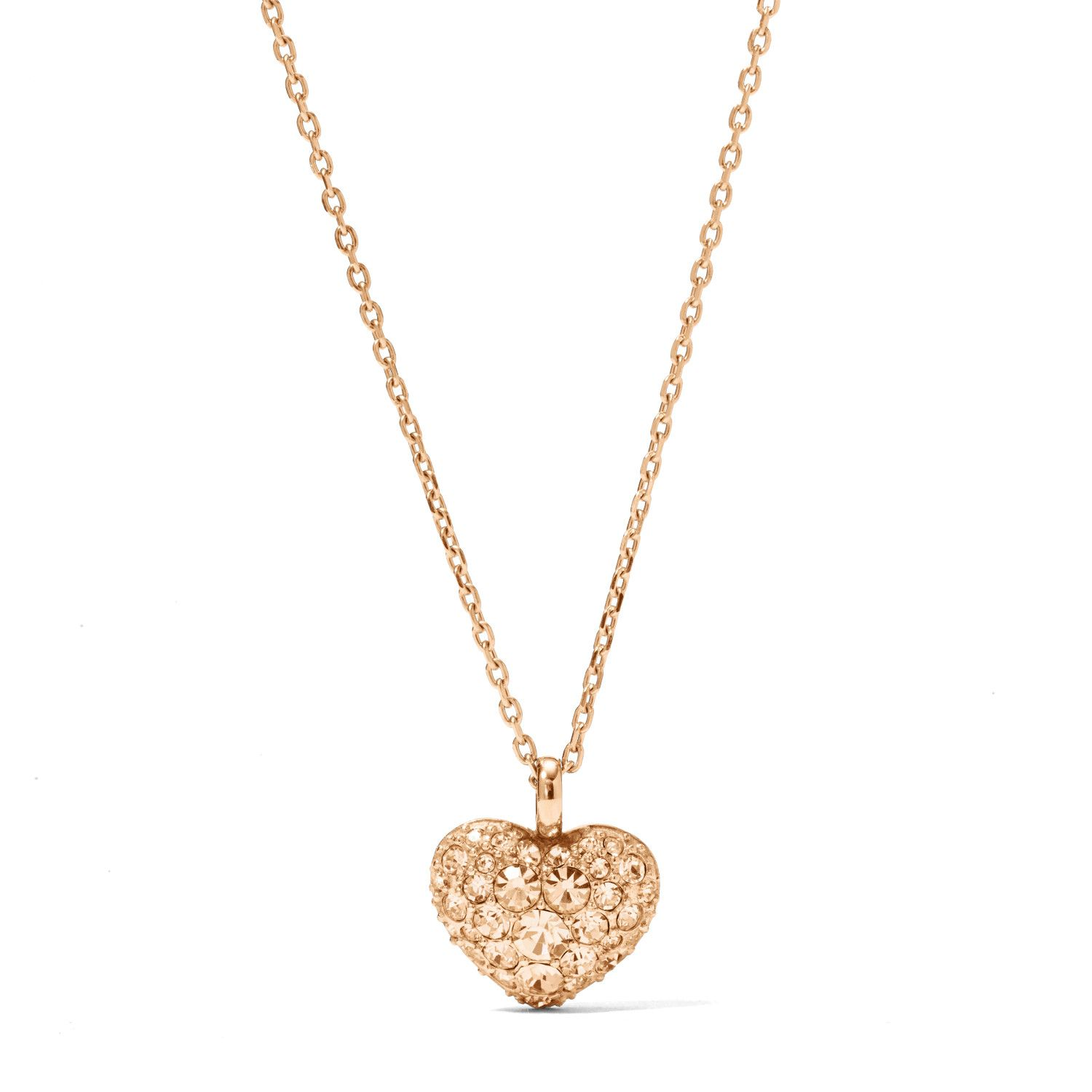 Isn't it romantic? Our sparkling peach pave pendant fulfills your heart's desire for charming accessories.