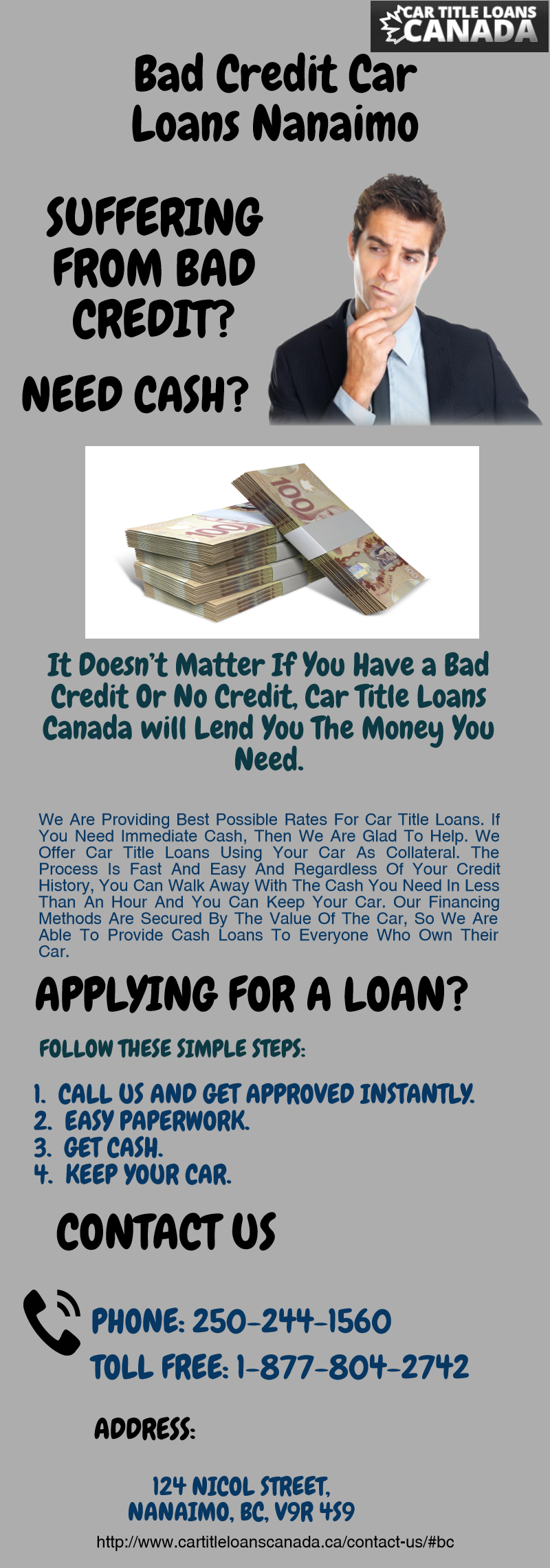 Apply for auto title loans nanaimo and get approved today whether you have bad credit history for further information contact us 1 888 517 1625 or
