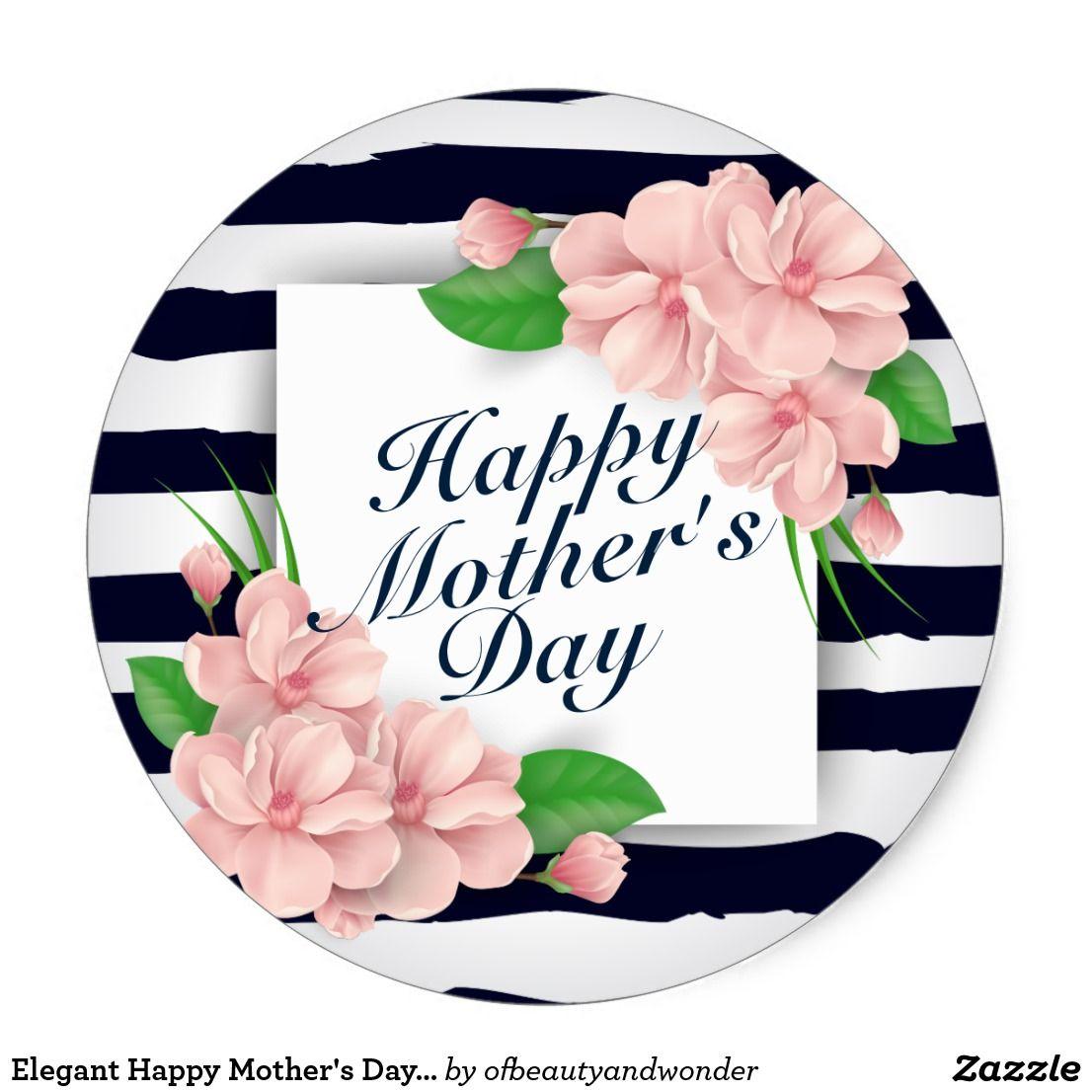 Elegant Happy Mother S Day Floral Frame Sticker Zazzle Com Happy Mothers Day Happy Mothers Happy Mother S Day