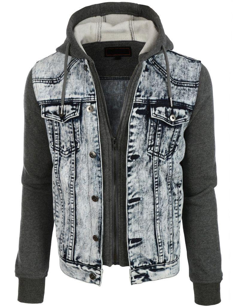 Le3no Mens Casual Long Sleeve Denim Jean Jacket With Hoodie Mens Fashion Jeans Hoodie Fashion Denim Jacket Men
