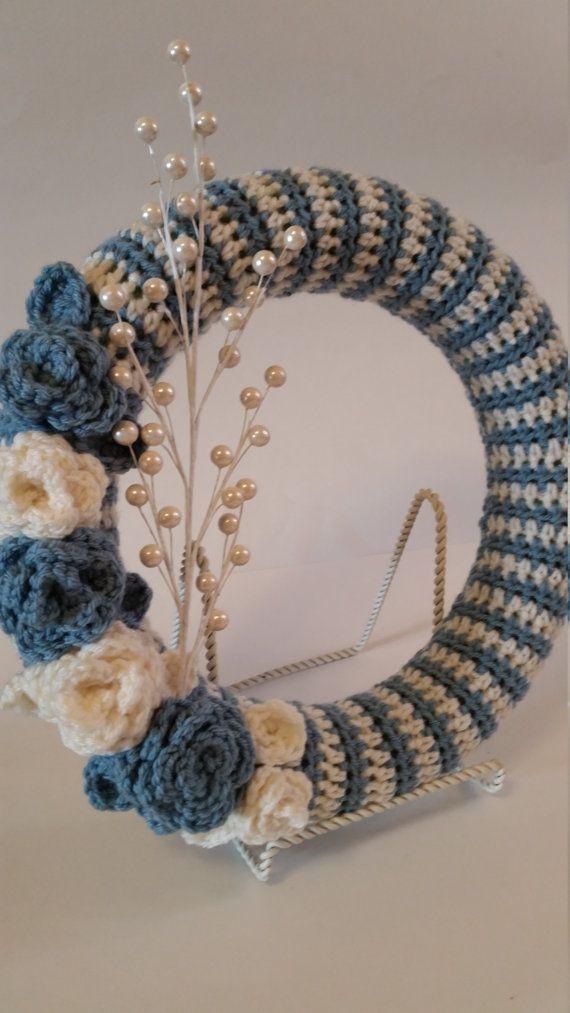 Crochet Wreath, Shabby Chic, Crochet Ring, Wreath, Floral Wreath ...