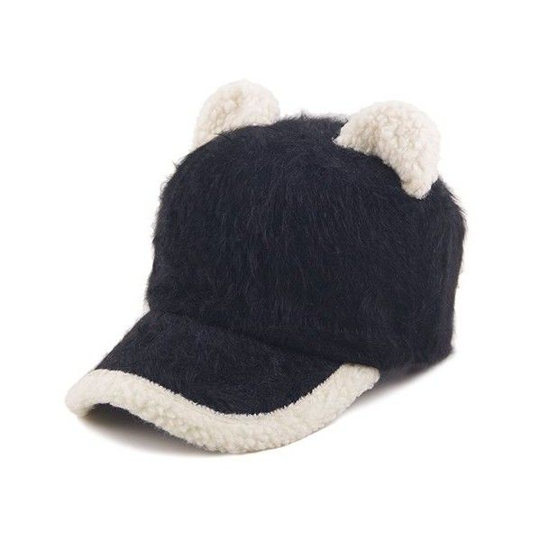 a98ed163e52 Fashionable Cat Ears Faux Fur Baseball Cap For Women ❤ liked on ...