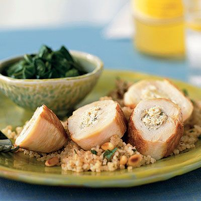 Chicken Breasts Stuffed with Artichokes, Lemon, and Goat Cheese -