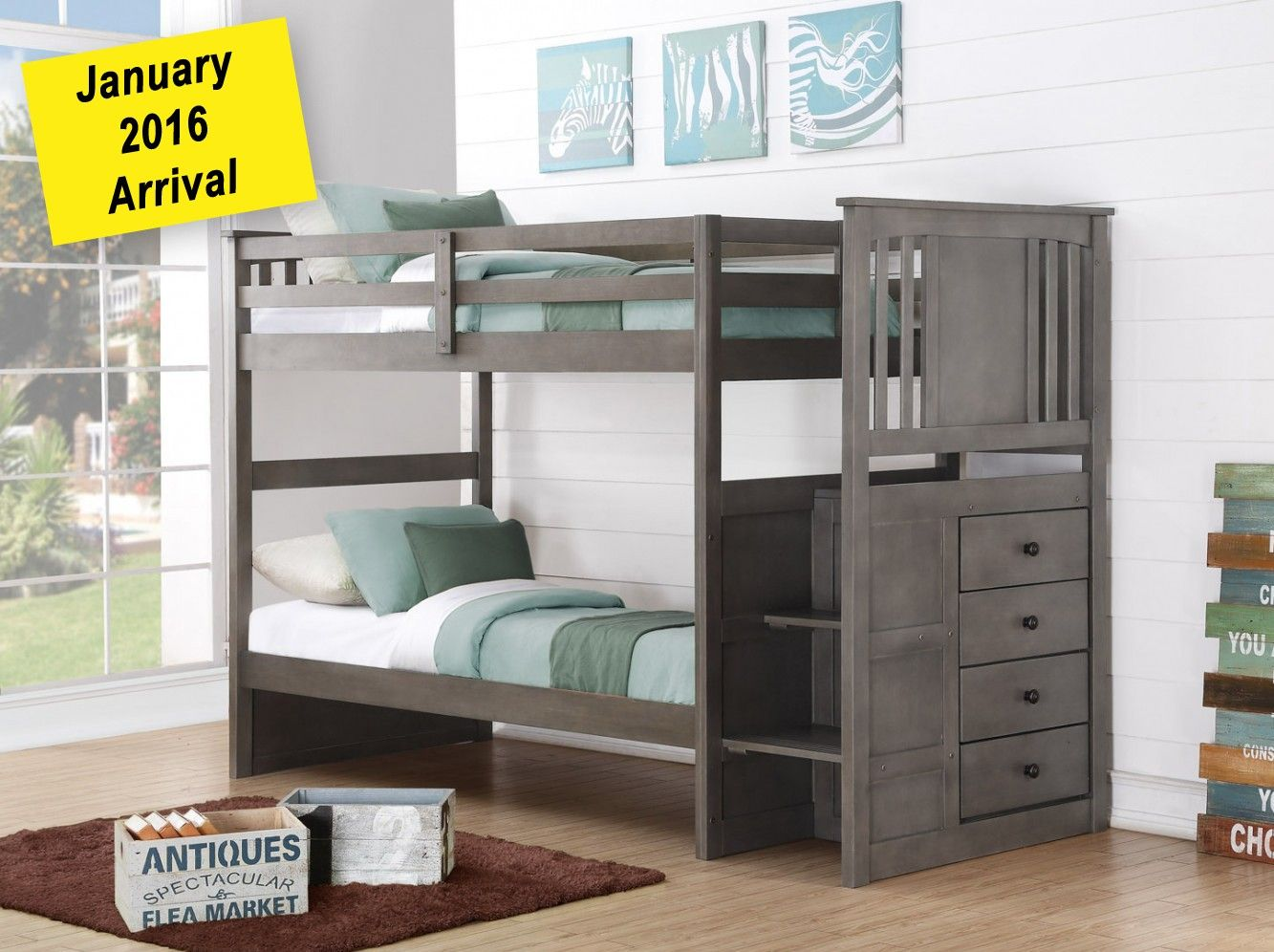 Solid Wood Gray Staircase Bunk Bed In Houston
