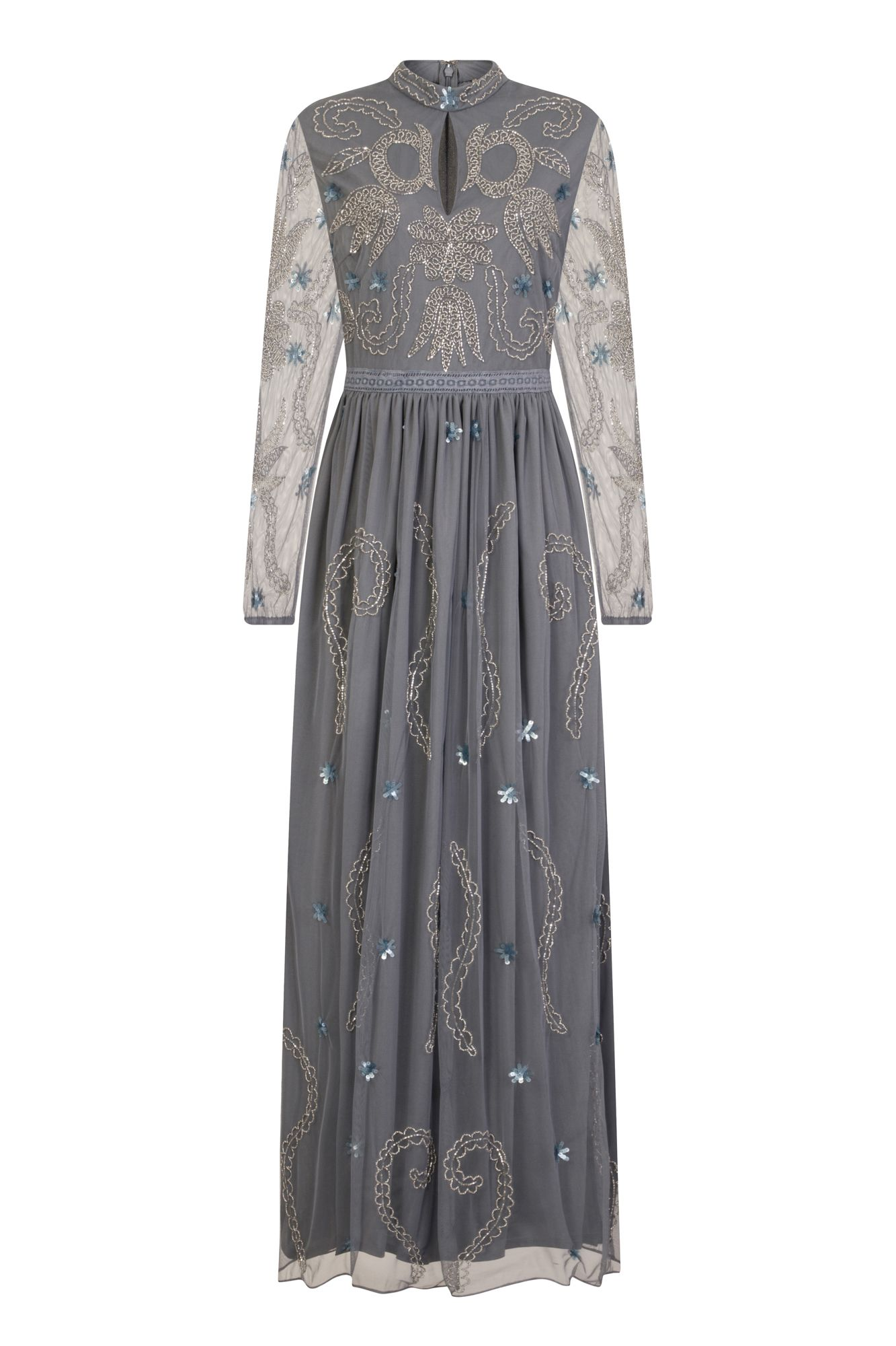 Frock and frill dania high neck long sleeve blue grey embellished