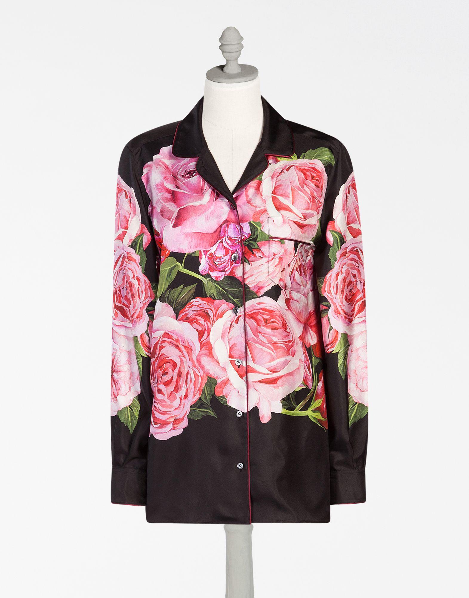 0a5330f6 Dolce & Gabbana - Rose print silk pajama blouse | TOPS ETC. | Shirts ...
