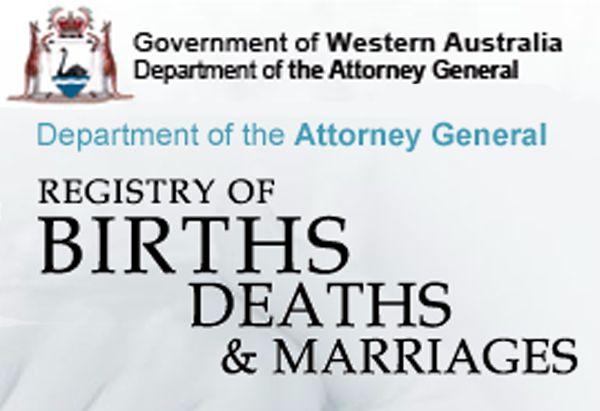 Western Australia (WA), Australia: Birth, Death and Marriage ...