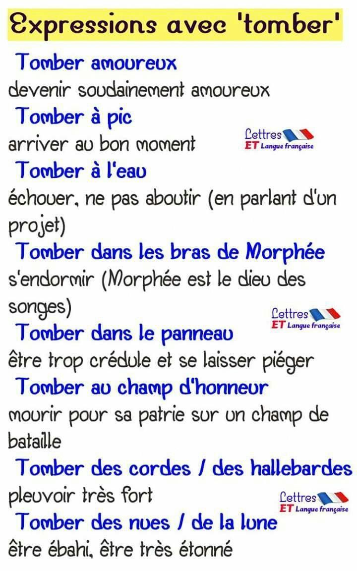 """Expressions avec """"tomber"""" - #avec #Expressions #francaise ..."""