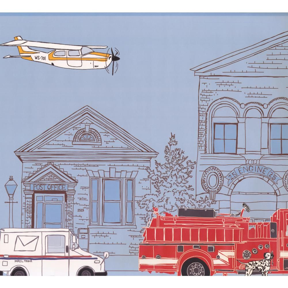 York Wallcoverings Industrial City Cartoon View Plane Post Office Fire Truck Extra Wide Prepasted Wallpaper B City Cartoon Wallpaper Border Prepasted Wallpaper