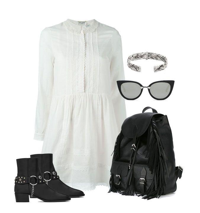 La robe blanche déclinée dans un look rock à base de boots et sac à franges Big Boss Megève – Le Blog