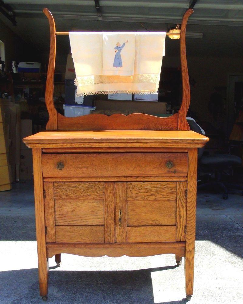 Antique Oak Washstand Towel Bar Dovetail All Original Wood Caster Wheels  1800's #MissionArtsCrafts #Unknown - Antique Oak Washstand Towel Bar Dovetail All Original Wood Caster