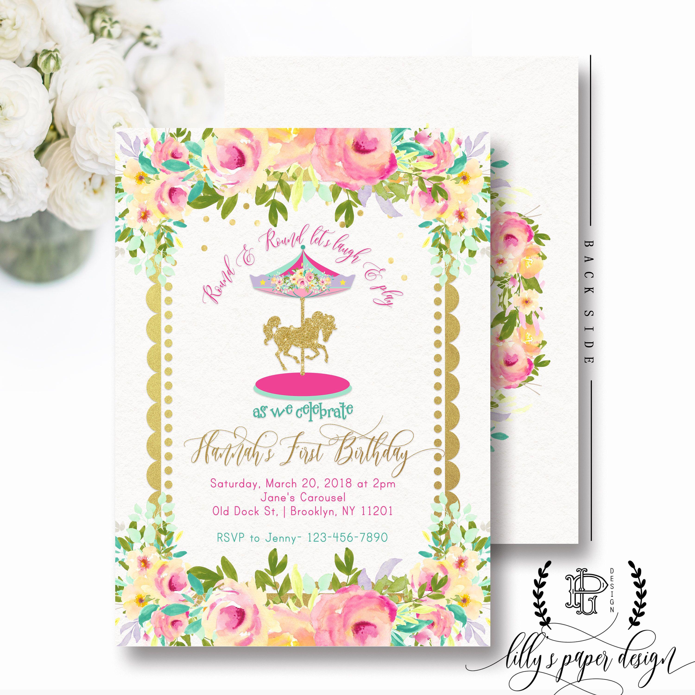 Carousel Birthday Invitation, Floral Carousel Invite