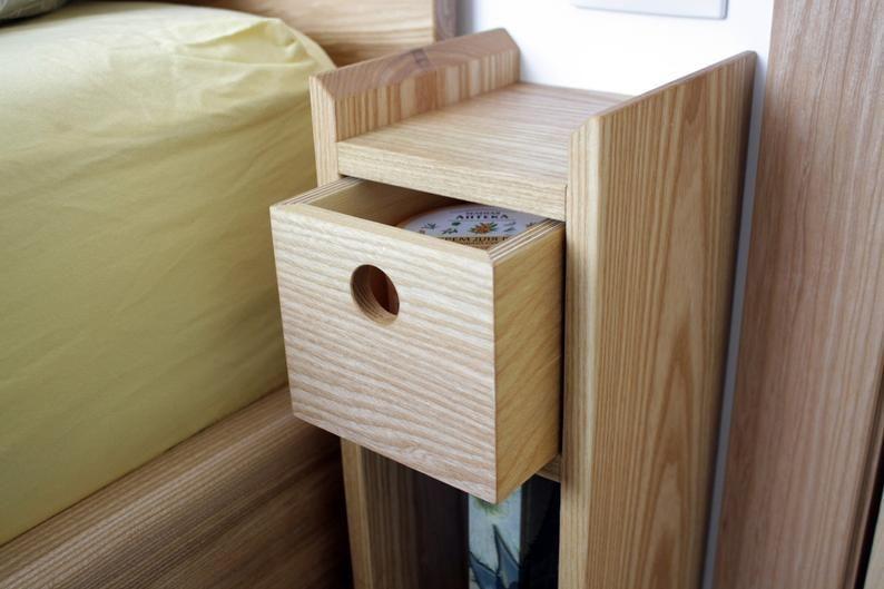 Floating Ash Wood MINI-NIGHTSTAND/Bedside/Hygge/Scandinavian/Minimalist/Rustic/Eco-friendly/Mothers Day/Simple/Side table/Floating#designideas #designinspiration #designlovers #designersaree #designsponge #designersarees #designbuild #designersuits #fashionmuslim #scandinaviandesign #industrialdesign #nailsdesign #nailartist