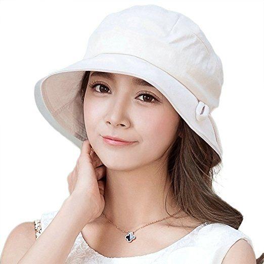 95934b9d77ffc Siggi Ladies Bucket Summer Sun Hat Foldable Wide Brim Packable Bowknot for  Women Beige. UK