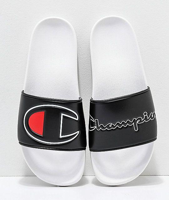 6796e2261fb Champion IPO Black   White Slide Sandals in 2019