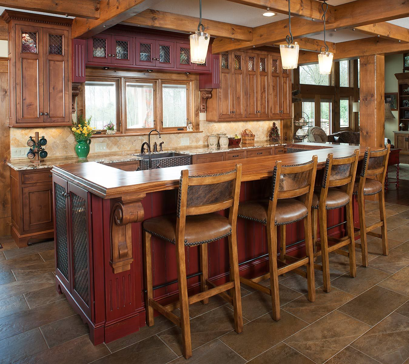 Rustic kitchen and island in 2019 Kitchen island table