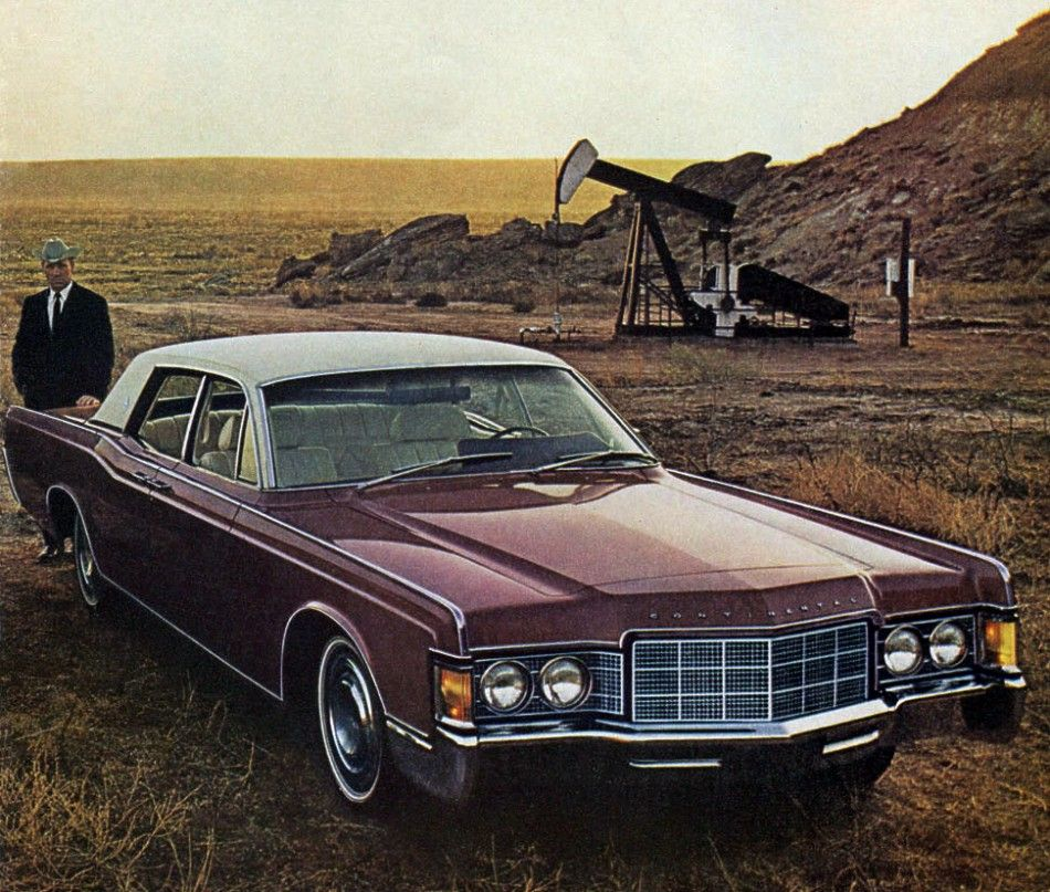 new front end styling on the 1969 lincoln continental sedan was