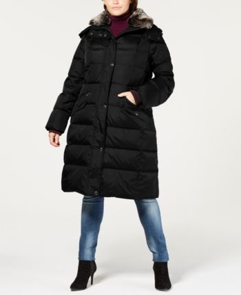 0607c14e6 London Fog Plus Size Faux-Fur-Collar Hooded Puffer Coat - Black 1X ...