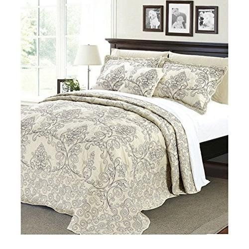 4pc 120 X 120 Light Beige Oversized Damask Bedspread King Damask Bedding Quilt Sets Bedding Bed Spreads