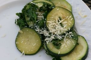 Kale and Zucchini Saute.  With 4 rows of Kale in our garden I am going to need recipes such as this.