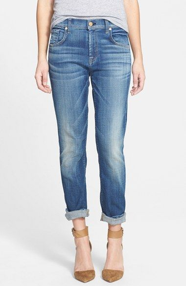 7 For All Mankind Josefina Relaxed Skinny Jeans Medium Broken