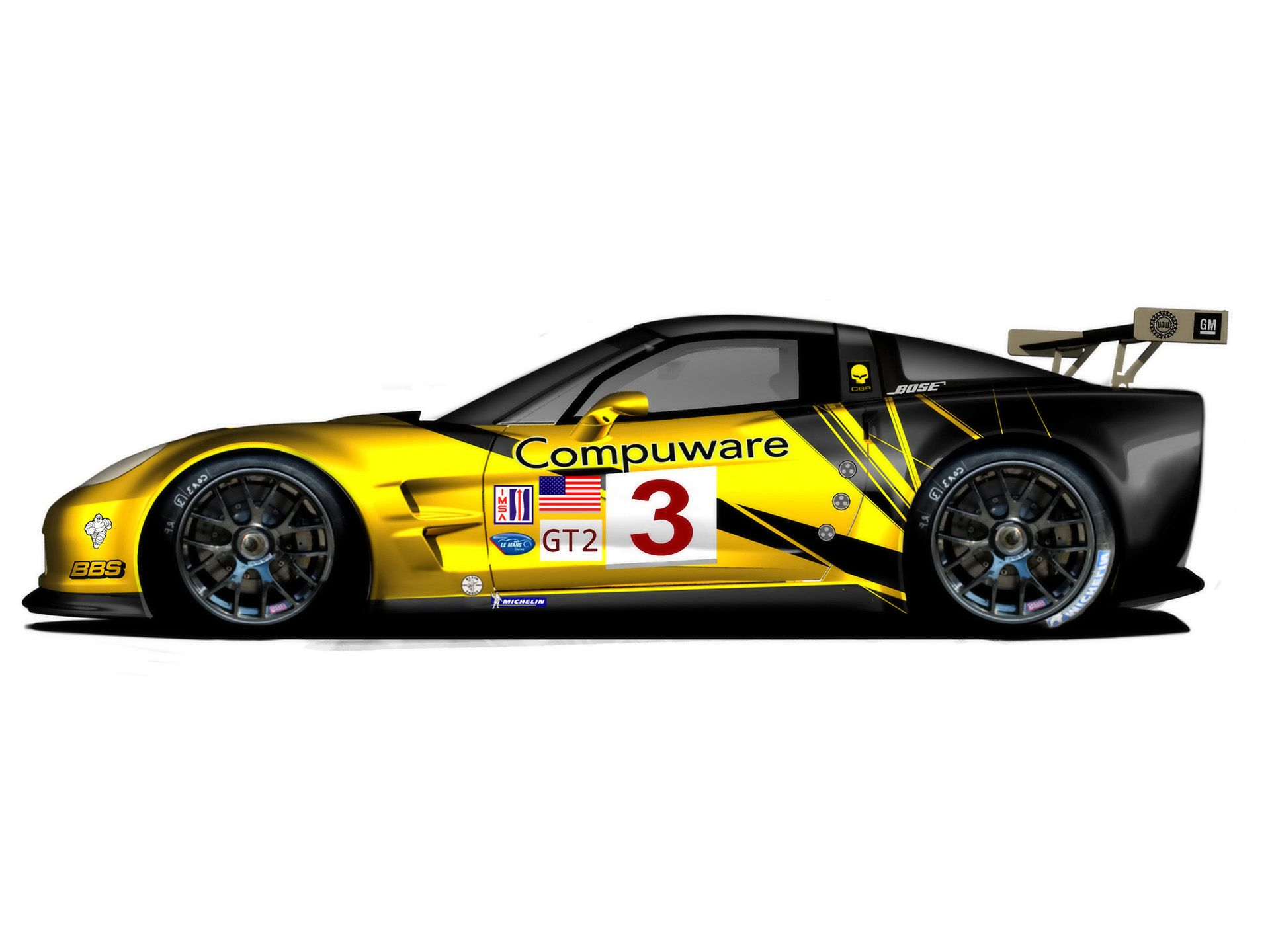 2009 Chevrolet Corvette C6 R Gt2 Side Studio 1920x1440
