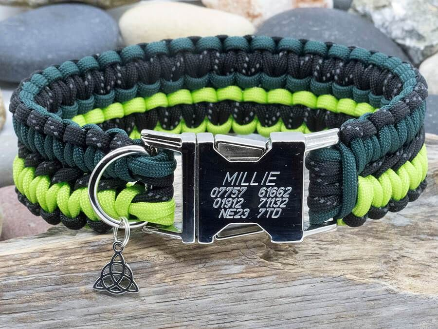 Paracord Dog Collar Reflective Black And Two Tone Green With