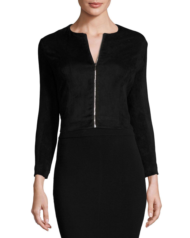 Stanna Cropped Zip-Front Jacket, Black