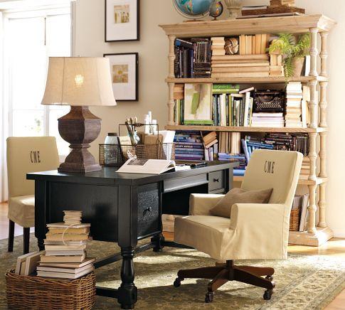 STUDY Burlap Lamp Shade and Partners Desk from Pottery Barn I like