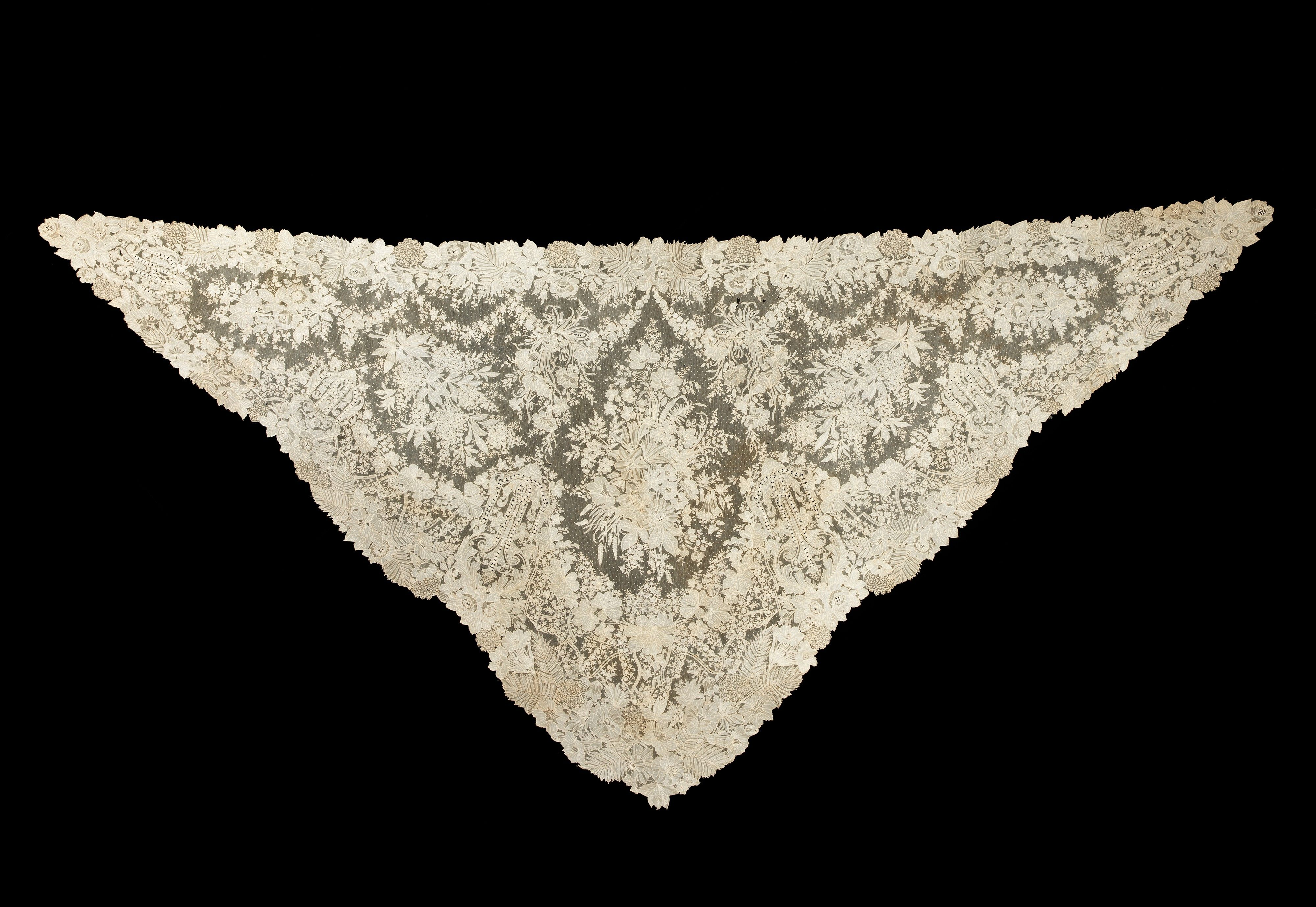Click and ZOOM in to see the intricate detail of this outstanding Belgian Lace Shawl --Brooklyn Museum Costume Collection at The Metropolitan Museum of Art,