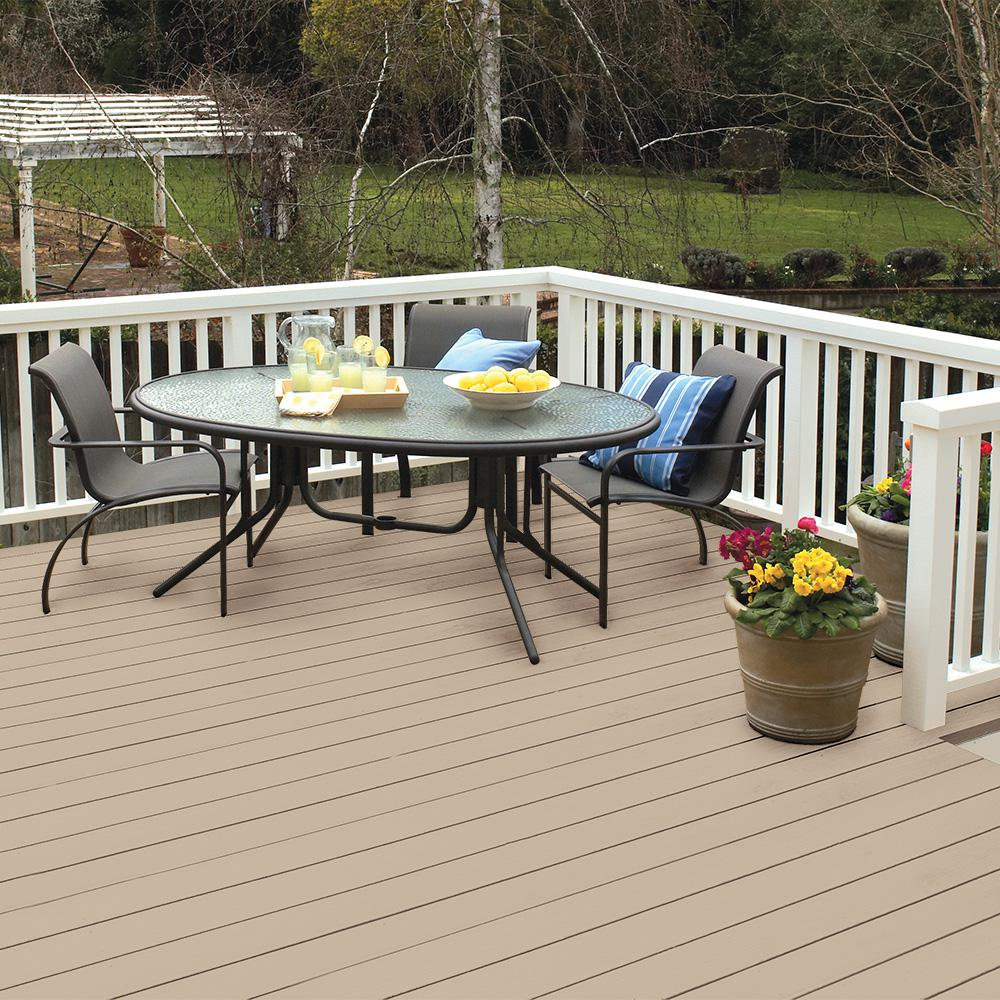 Behr Deckplus 5 Gal Ppf 32 Light Rattan Solid Color Waterproofing Exterior Wood Stain 21105 The Home Depot Exterior Wood Stain Wood Deck Stain Staining Deck