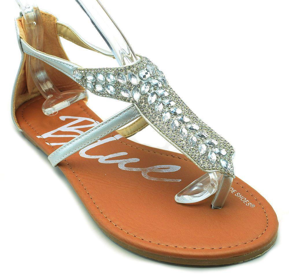 4ea0087d6268 Crystal Rhinestone T Strap Gladiator Sandals Back Zipper Black White Silver  NEW  Blue  FlatSandals  Casual