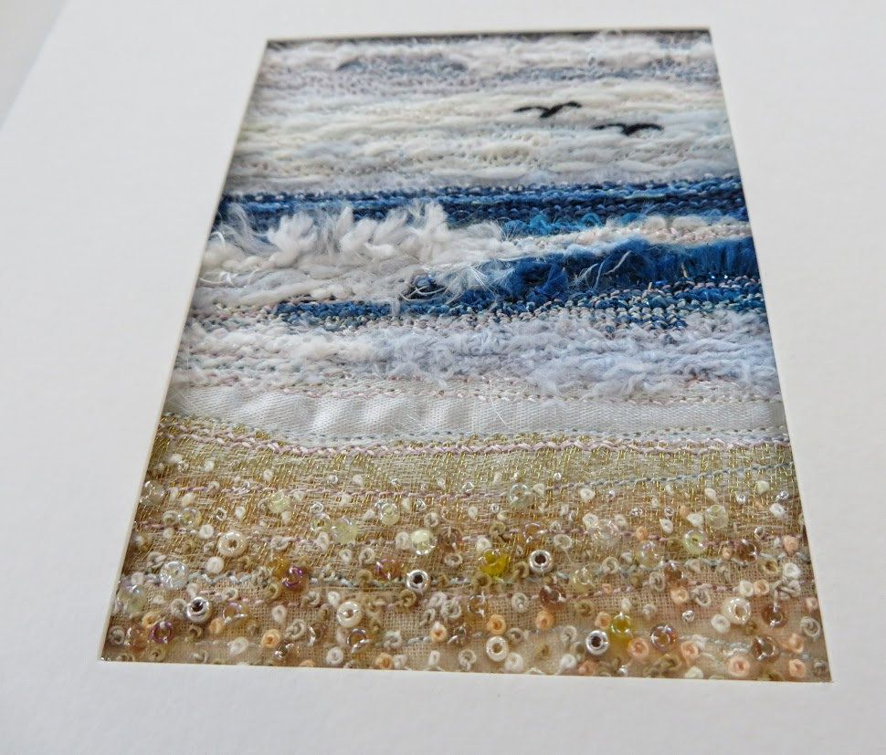 Fabric seascape needlework art in a 5.5