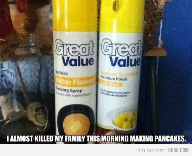 'i almost killed my family this morning making pancakes.'