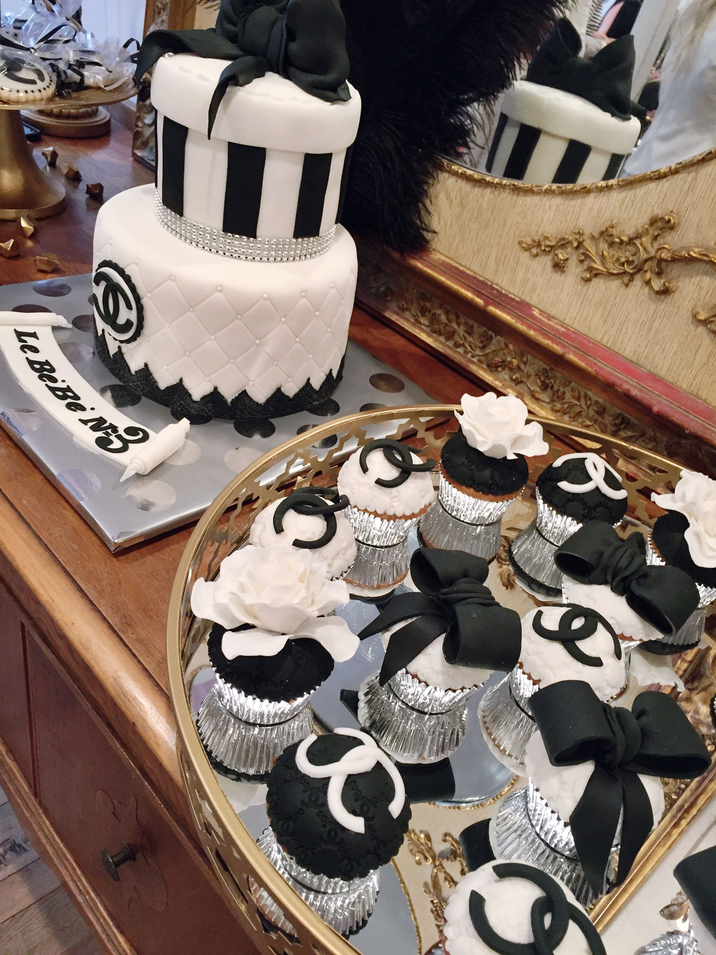 chanel, chanel cupcakes, bachelorette cake, bridal shower cake, chanel party theme, chanel theme, black and white cupcakes, cupcakes, dessert table