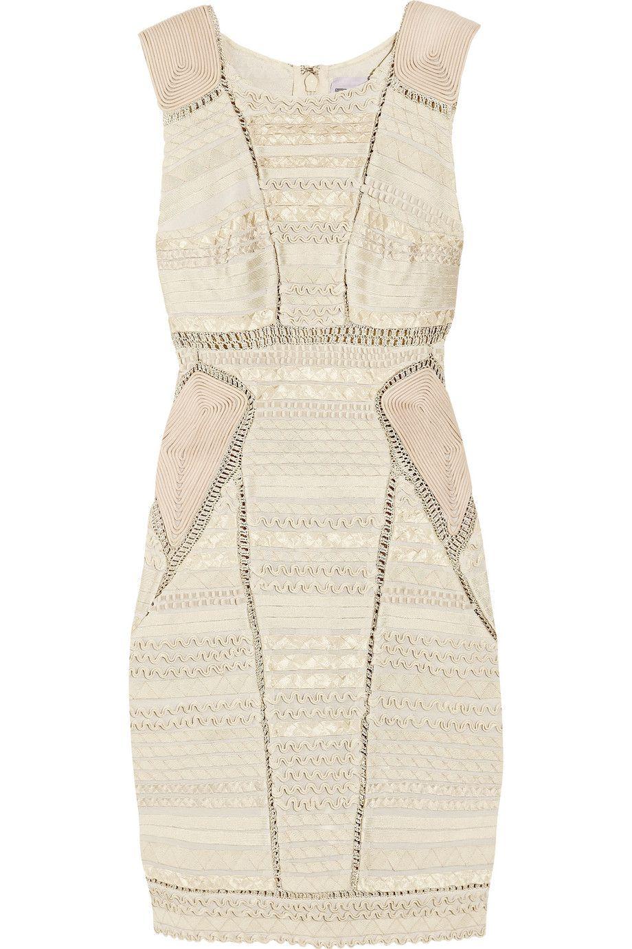 Perfect combo hervé léger ribbon and crochet bandage dress to