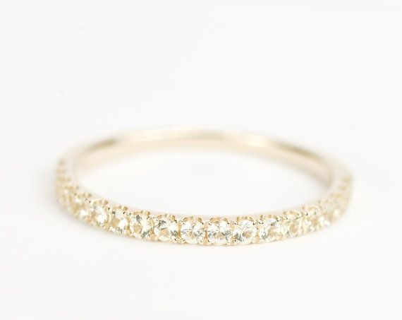 Very Beautiful Light Yellow Sapphire wedding band. Half Eternity Style.  (custom order, ready in 2-4 weeks)    ****** There are currently online