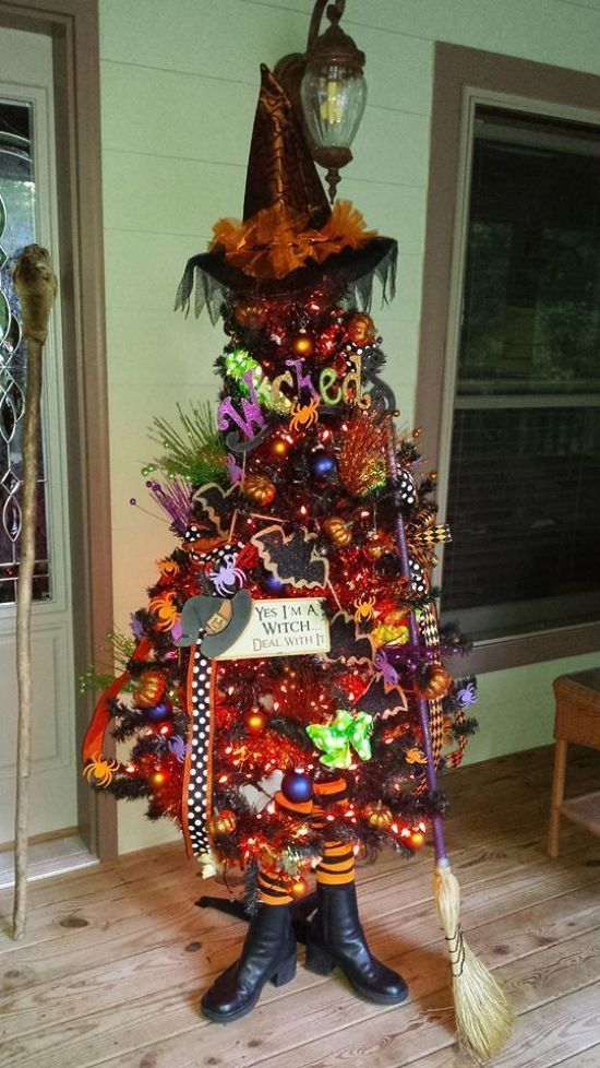 Halloween Tree Decoration Ideas With A Broom With Lights