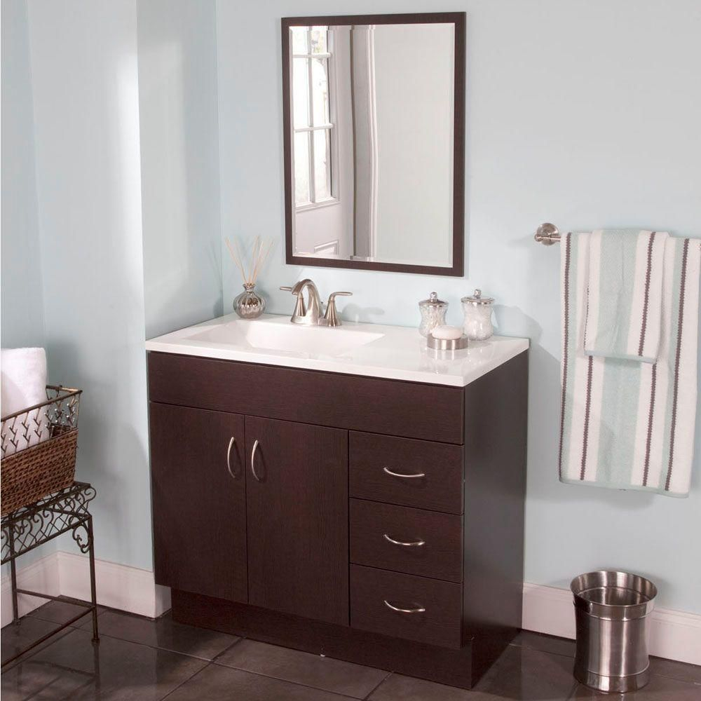 St Paul Vanguard 36 In Vanity Ebony With Alpine Top White And Mirror Vga36p3 Eb The Home Depot