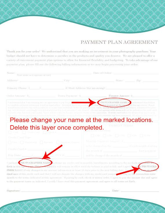 Payment Plan Agreement Form for Photographers, Credit Authorization