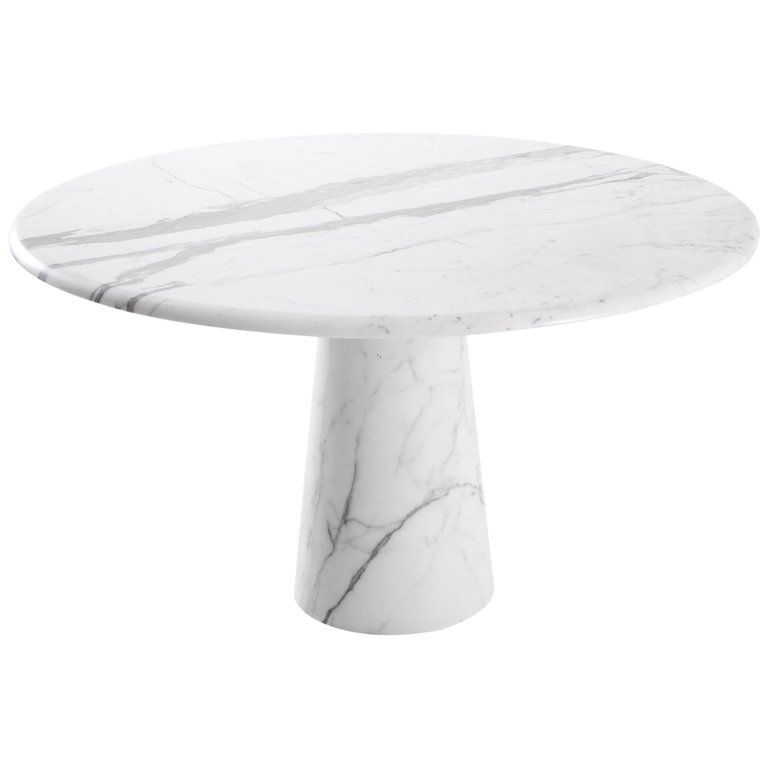 Midcentury Round Italian Carrara Marble Dining Table From A Unique Collection Of Antique And Modern Dini Dining Table Marble Round Marble Table Marble Dining
