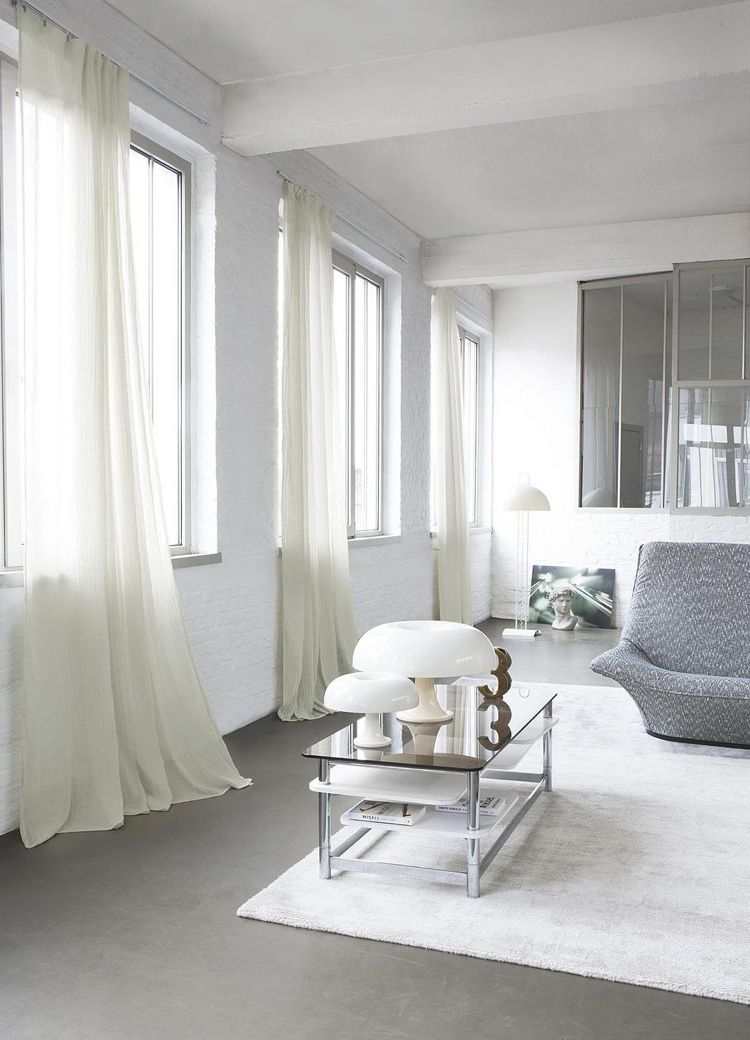Moderne Gardinen Vorhaenge Leinenstoffweiss Duenn Durchscheinend Wohnzimmer  Couchtisch