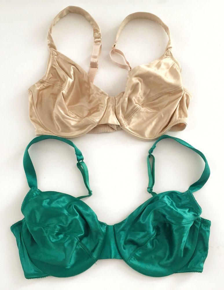 ab4e13fee979d Victoria s Secret SECOND SKIN Satin Bra Lot 36C Nude Green Vintage No  Padding