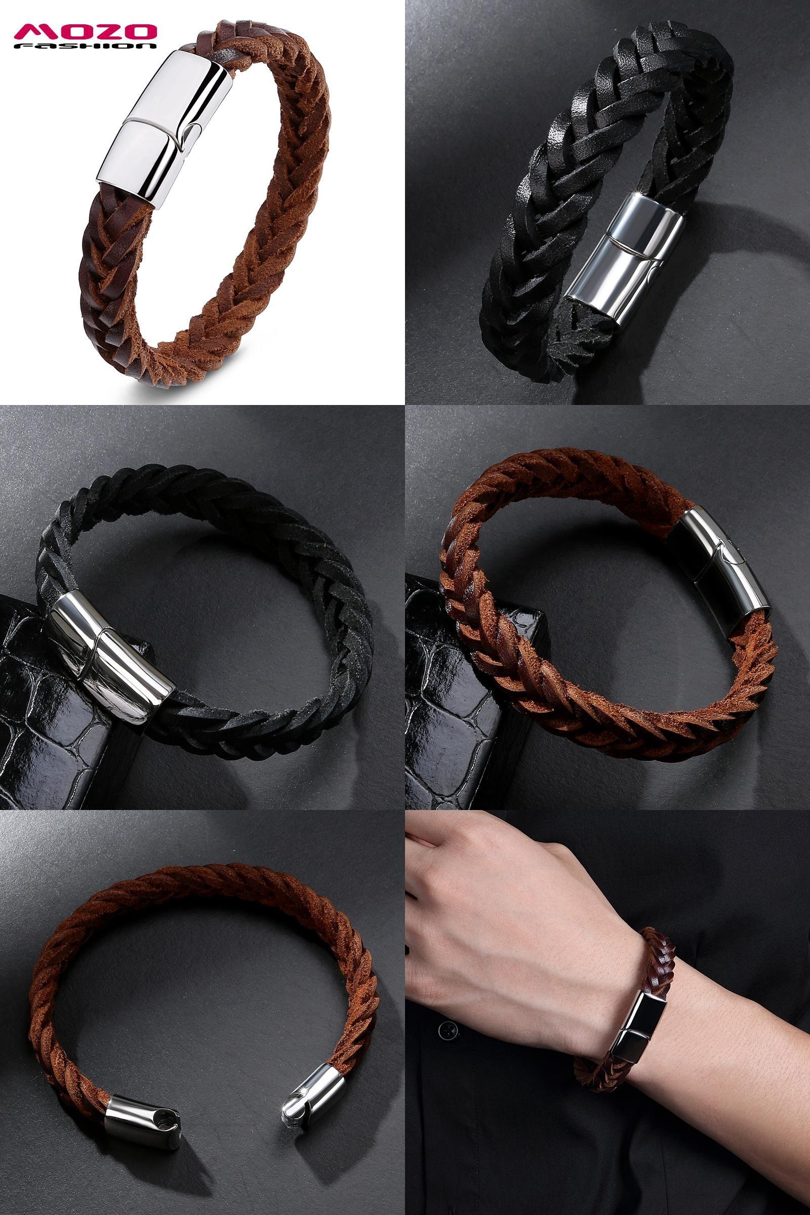 Visit to buy mozo fashion men bracelet black brown woven leather