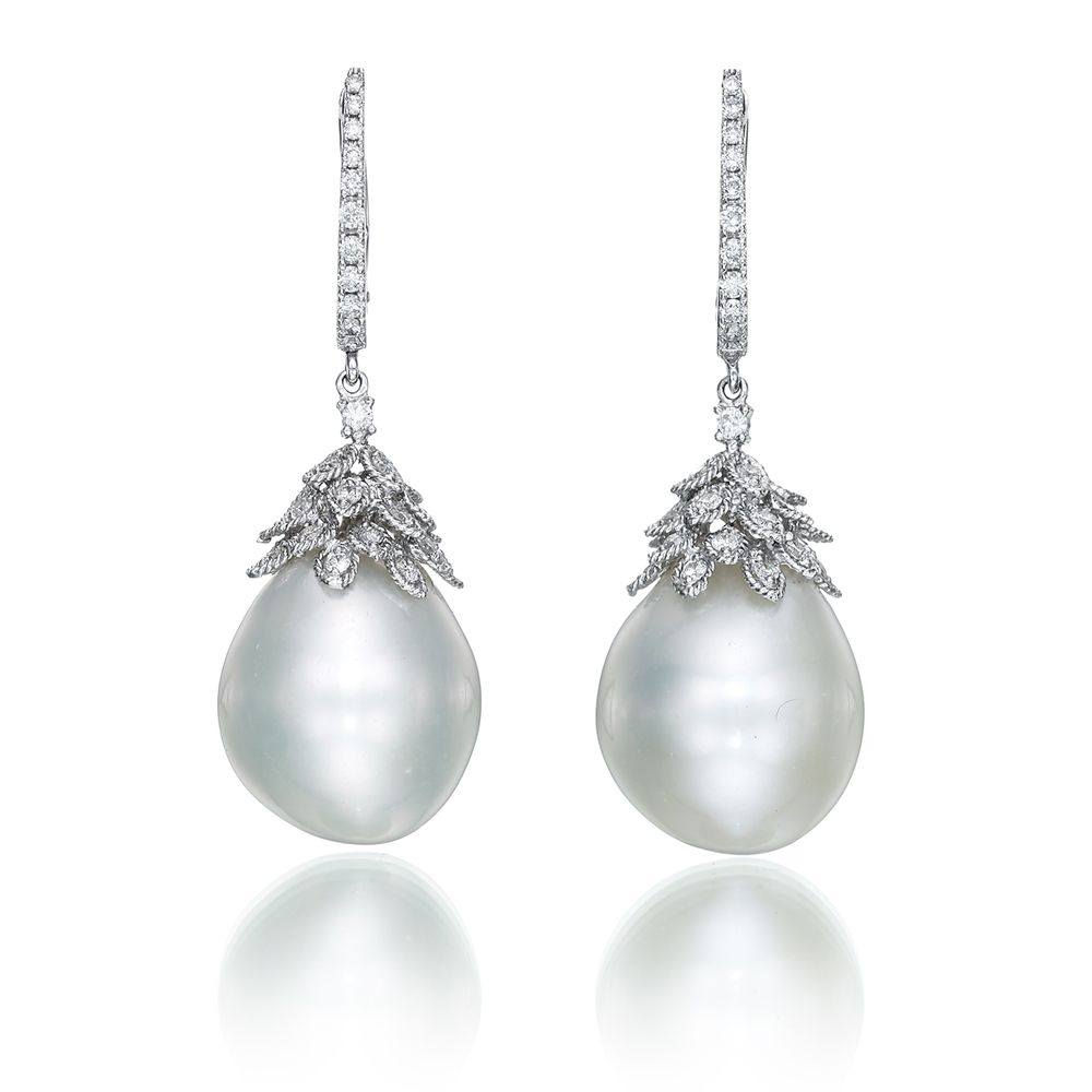 Enchanting Baroque Freshwater Pearl & Diamond Gold Earrings  Yvel