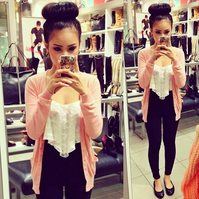 .@loveeeroxanneboo | Yesterday's outfit.  Cardigan:f21 Top: @Iwear Sin Pants: american apparel Flat... | Webstagram