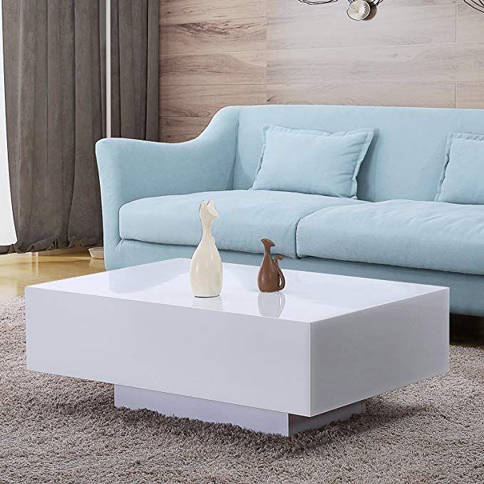 mecor high gloss white rectangle coffee table modern side