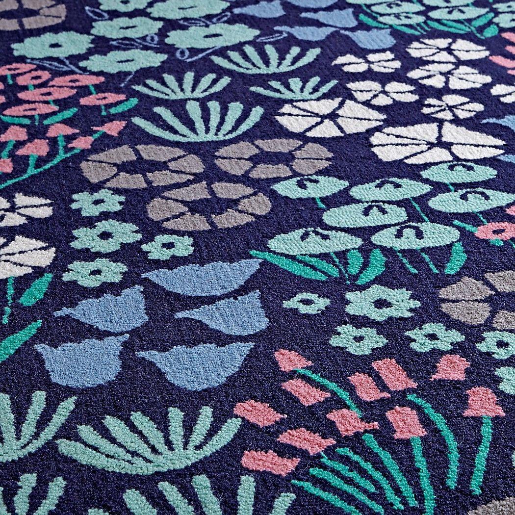 4x6' Blue Floral Rug Kids rugs, Rugs, Floral rug