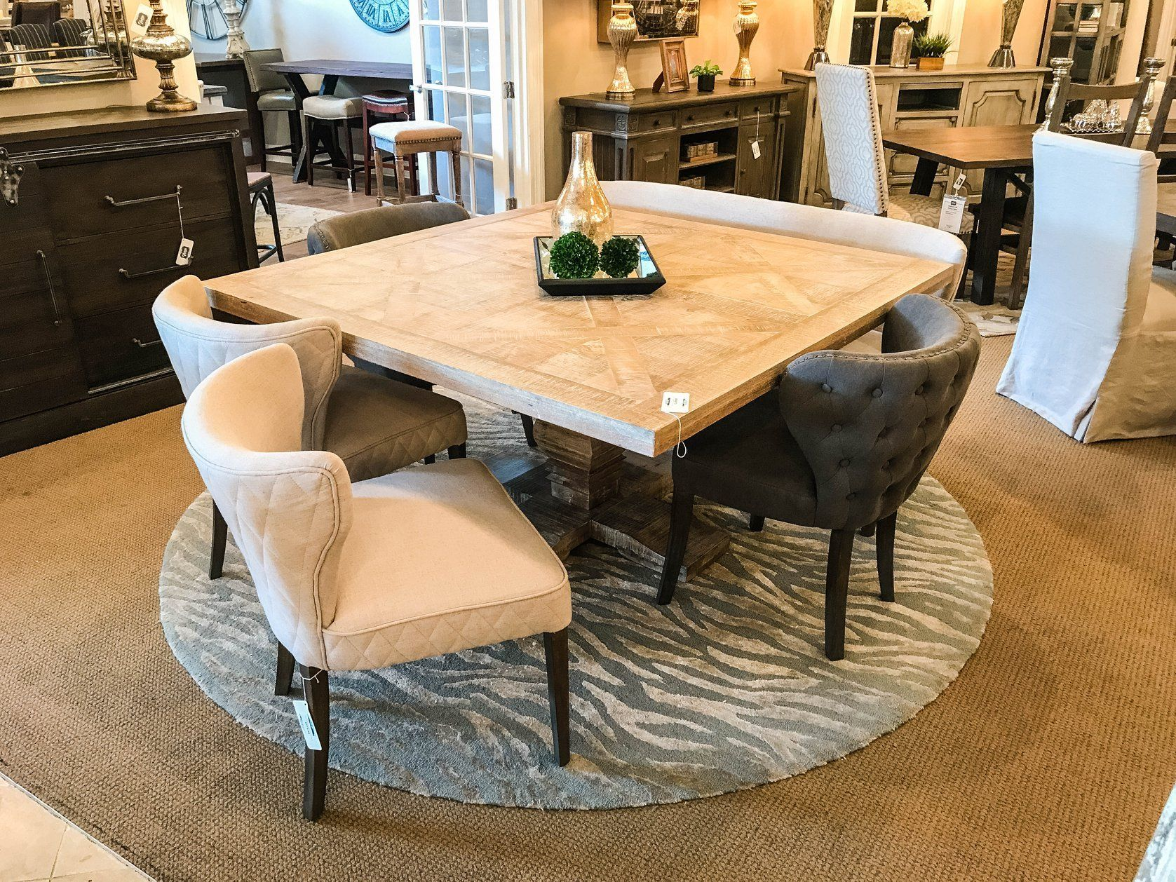 """Brisbane 59"""" Square Dining Table New White Wash"""