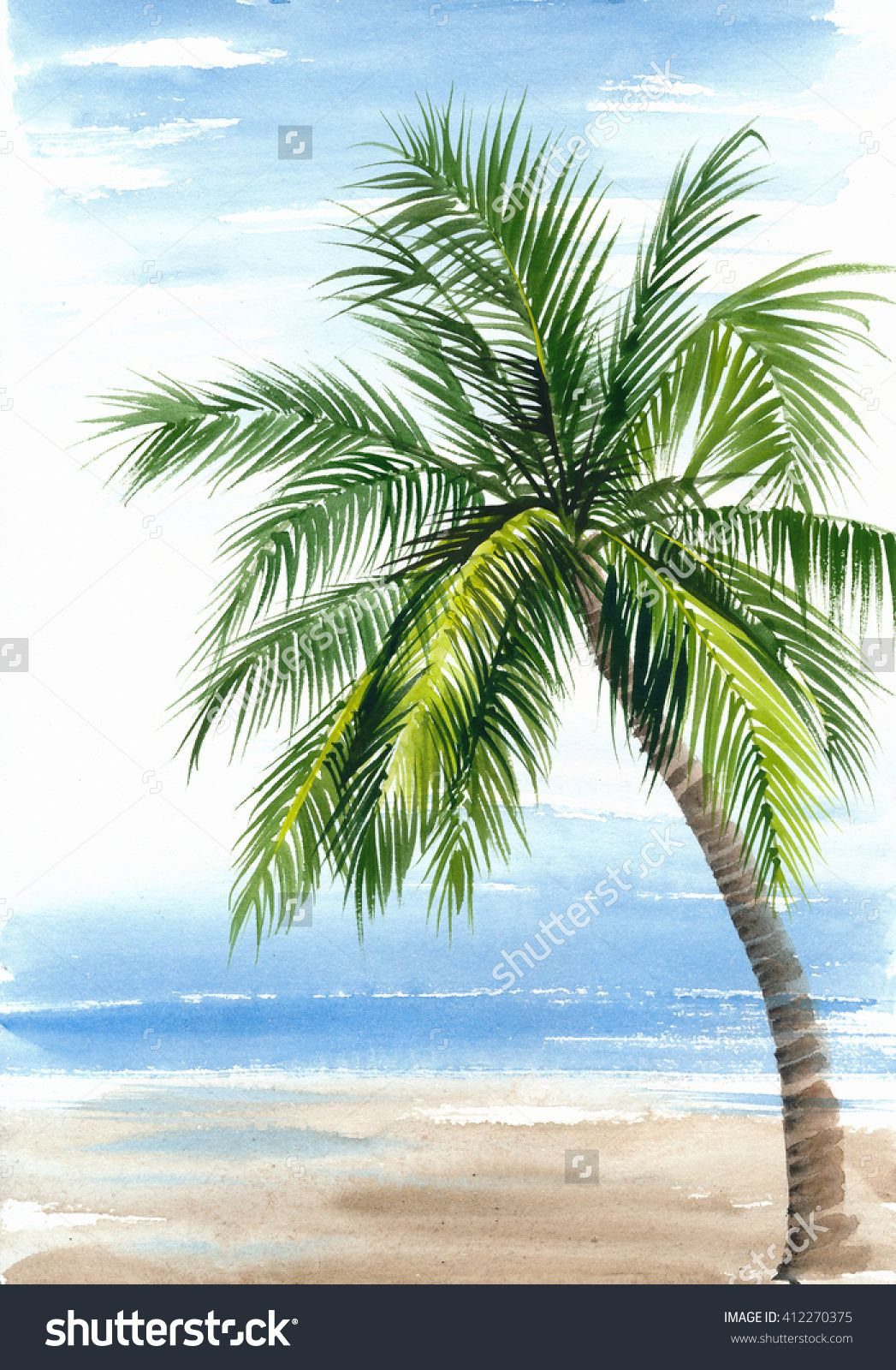 Tropical Resort View With The Seashore And Coconut Palm Original